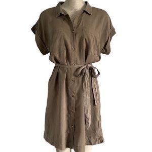Thread & Supply Green Button Up Shirt Dress